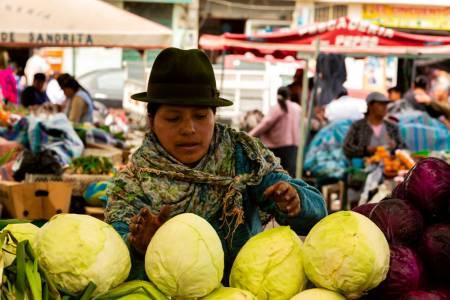 Marktfrau mit Kohl, Ecuador